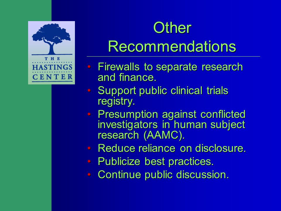 Other Recommendations Firewalls to separate research and finance.Firewalls to separate research and finance.