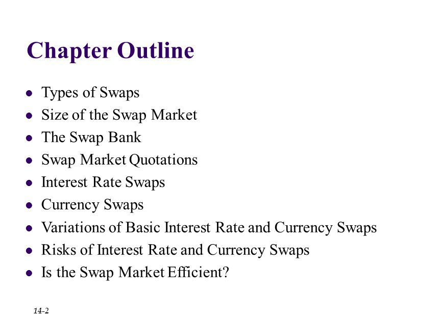 Chapter Outline Types of Swaps Size of the Swap Market The Swap Bank Swap Market Quotations Interest Rate Swaps Currency Swaps Variations of Basic Interest Rate and Currency Swaps Risks of Interest Rate and Currency Swaps Is the Swap Market Efficient.