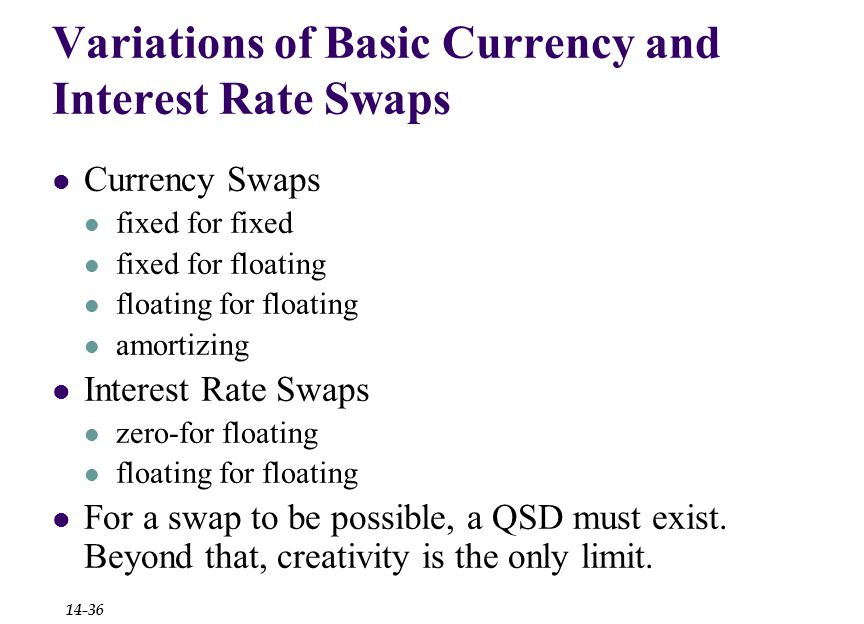 Variations of Basic Currency and Interest Rate Swaps Currency Swaps fixed for fixed fixed for floating floating for floating amortizing Interest Rate Swaps zero-for floating floating for floating For a swap to be possible, a QSD must exist.