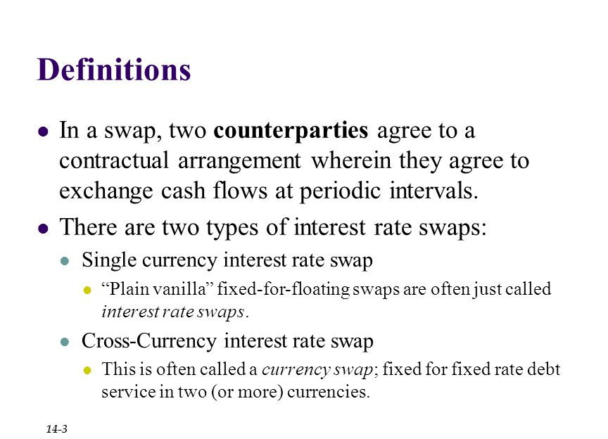 Definitions In a swap, two counterparties agree to a contractual arrangement wherein they agree to exchange cash flows at periodic intervals.