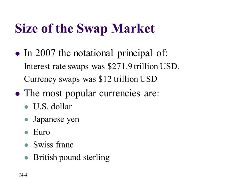 Size of the Swap Market In 2007 the notational principal of: Interest rate swaps was $271.9 trillion USD.