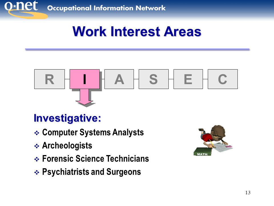 13 Work Interest Areas R I I ASEC Investigative:  Computer Systems Analysts  Archeologists  Forensic Science Technicians  Psychiatrists and Surgeo