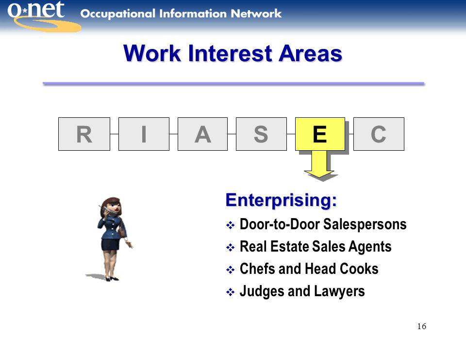 16 Work Interest Areas RIAS E E C Enterprising:  Door-to-Door Salespersons  Real Estate Sales Agents  Chefs and Head Cooks  Judges and Lawyers