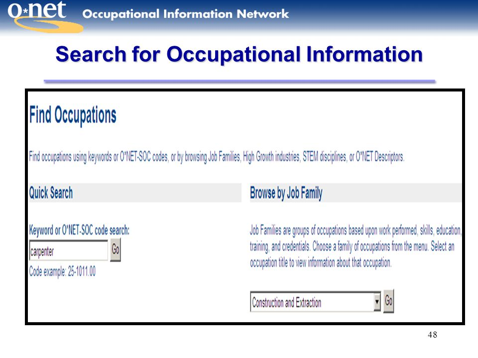 48 Search for Occupational Information