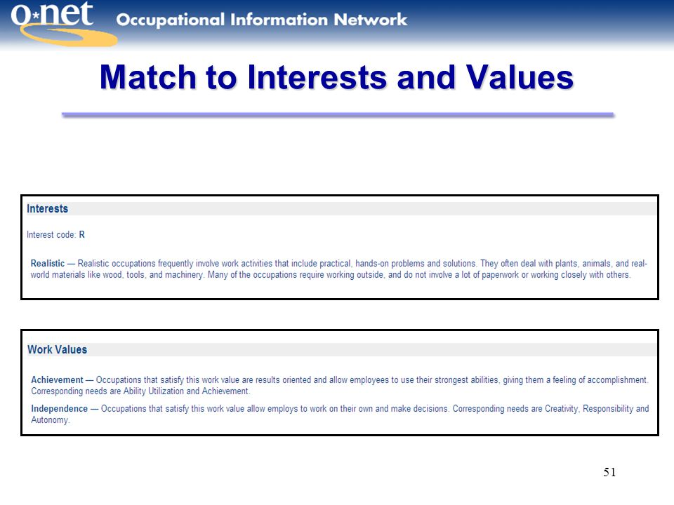 51 Match to Interests and Values
