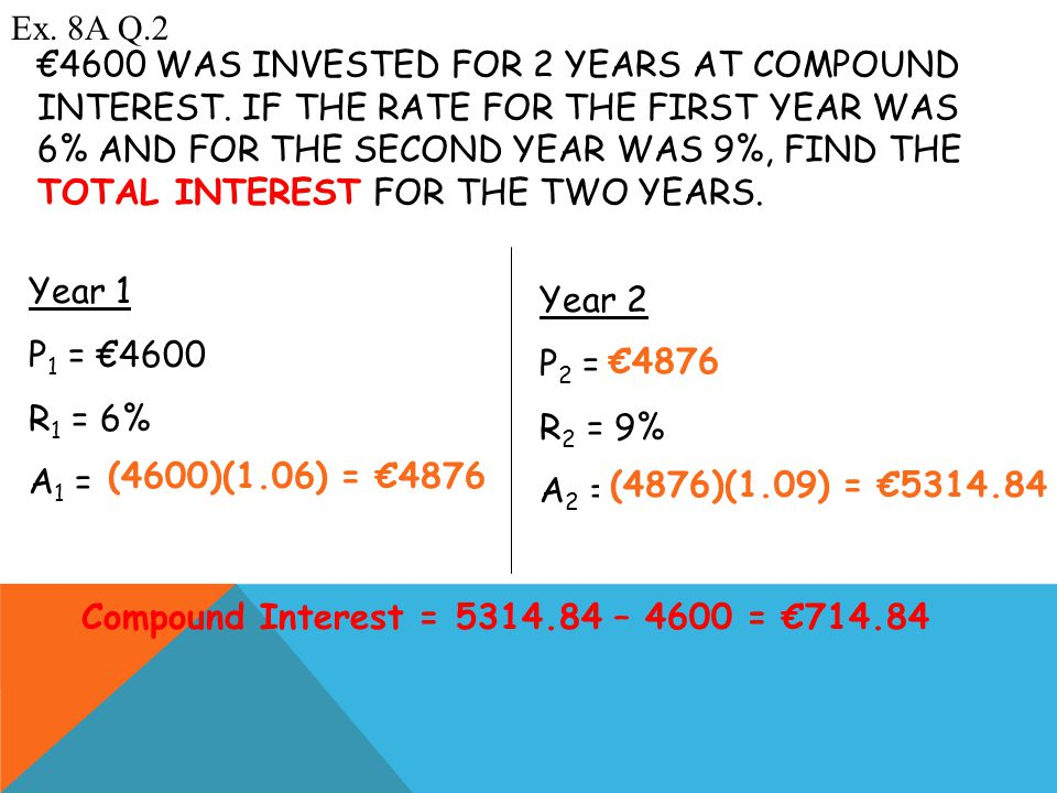 €4600 WAS INVESTED FOR 2 YEARS AT COMPOUND INTEREST.