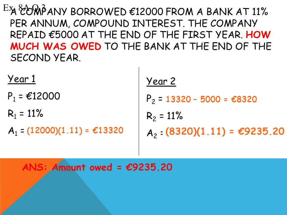 A COMPANY BORROWED €12000 FROM A BANK AT 11% PER ANNUM, COMPOUND INTEREST.