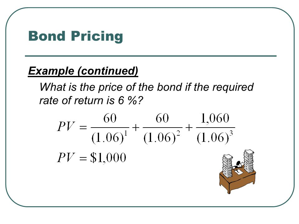 Bond Pricing Example (continued) What is the price of the bond if the required rate of return is 6 %