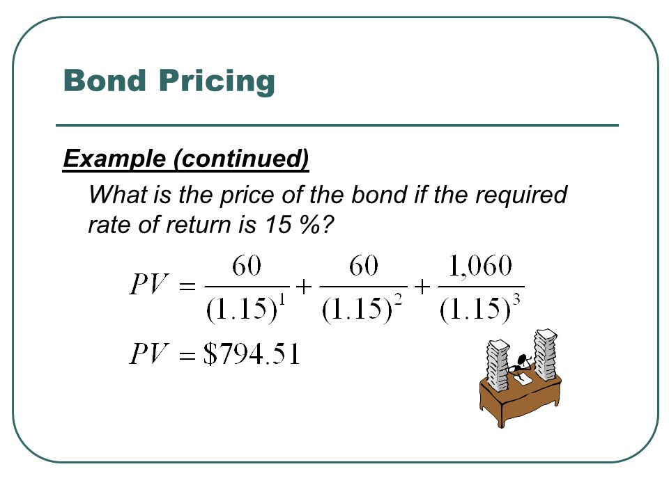 Bond Pricing Example (continued) What is the price of the bond if the required rate of return is 15 %