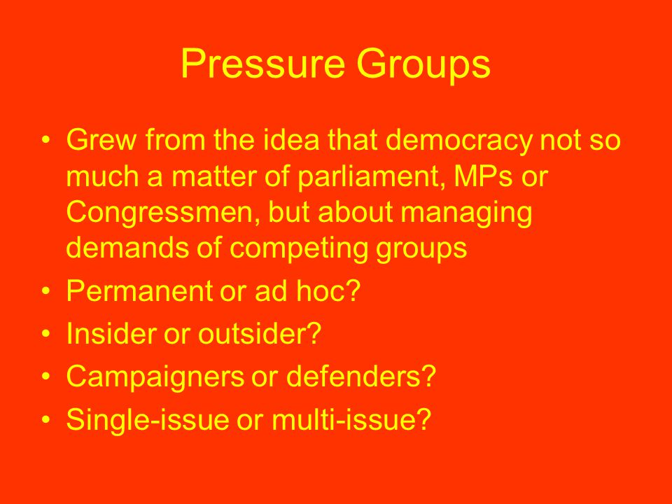 Pressure Groups Grew from the idea that democracy not so much a matter of parliament, MPs or Congressmen, but about managing demands of competing groups Permanent or ad hoc.