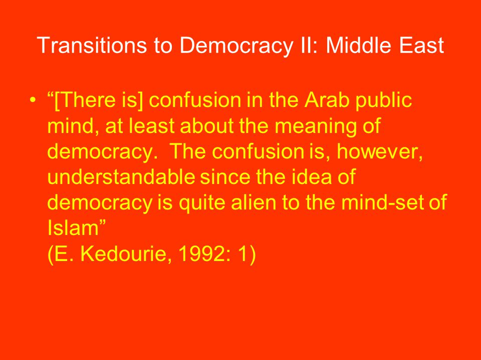 [There is] confusion in the Arab public mind, at least about the meaning of democracy.