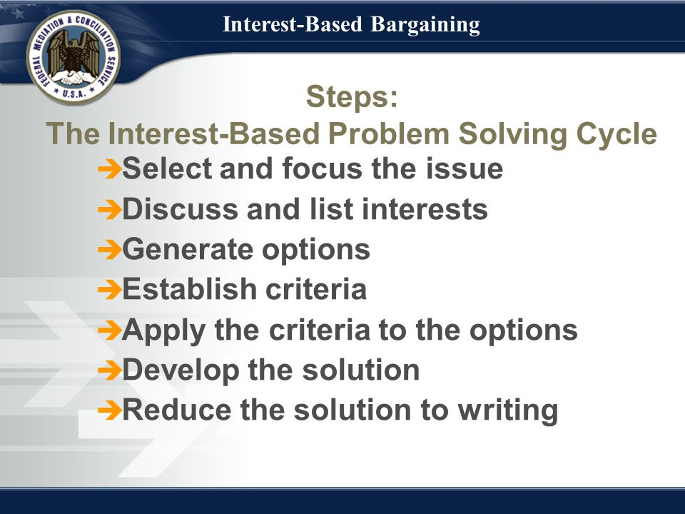 Interest-Based Bargaining Steps: The Interest-Based Problem Solving Cycle  Select and focus the issue  Discuss and list interests  Generate options