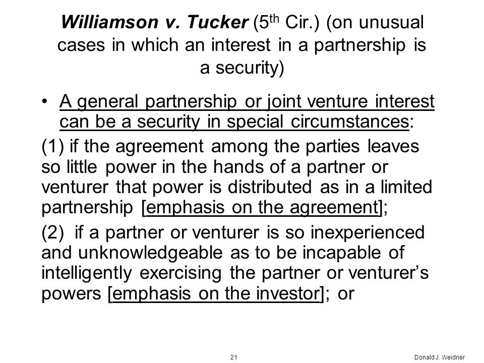Donald J. Weidner21 Williamson v.