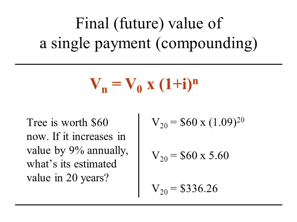 Final (future) value of a single payment (compounding) V 20 = $60 x (1.09) 20 V 20 = $60 x 5.60 V 20 = $336.26 Tree is worth $60 now.