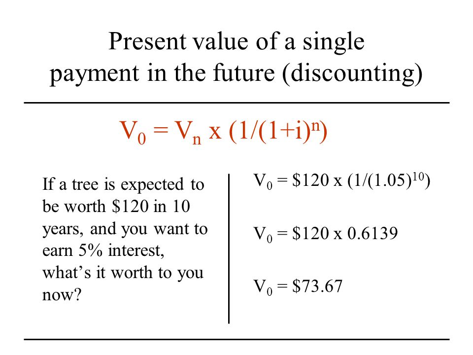 Present value of a single payment in the future (discounting) If a tree is expected to be worth $120 in 10 years, and you want to earn 5% interest, what's it worth to you now.