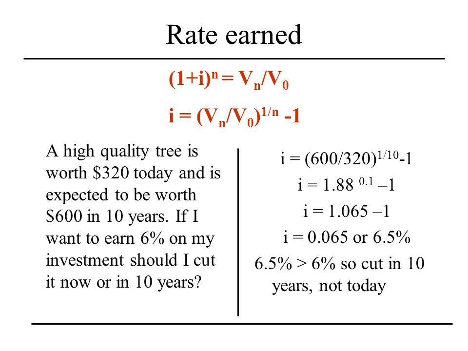 Rate earned A high quality tree is worth $320 today and is expected to be worth $600 in 10 years.