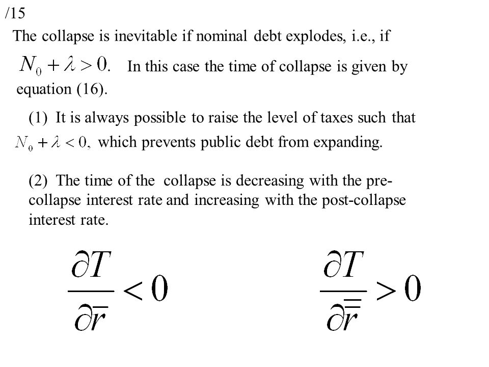 /15 The collapse is inevitable if nominal debt explodes, i.e., if In this case the time of collapse is given by equation (16).