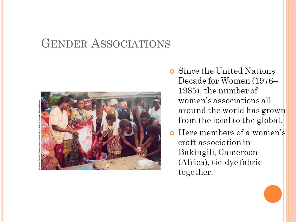 G ENDER A SSOCIATIONS Since the United Nations Decade for Women (1976– 1985), the number of women's associations all around the world has grown from the local to the global.
