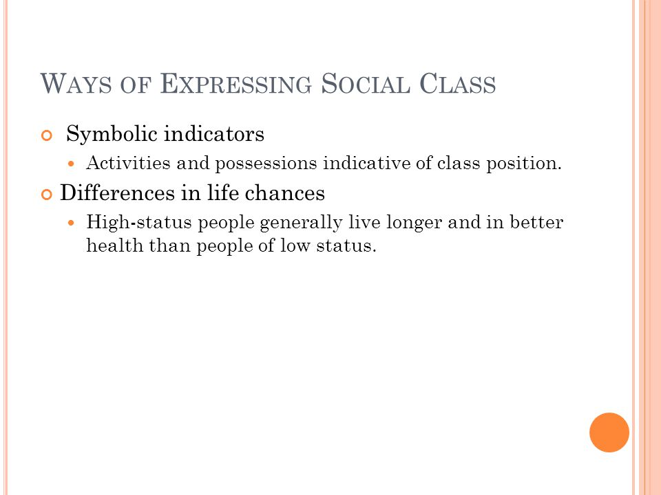 W AYS OF E XPRESSING S OCIAL C LASS Symbolic indicators Activities and possessions indicative of class position.