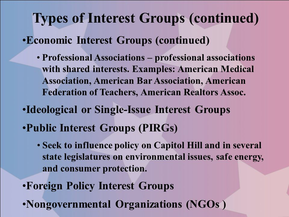 Types of Interest Groups (continued) Economic Interest Groups (continued) Professional Associations – professional associations with shared interests.