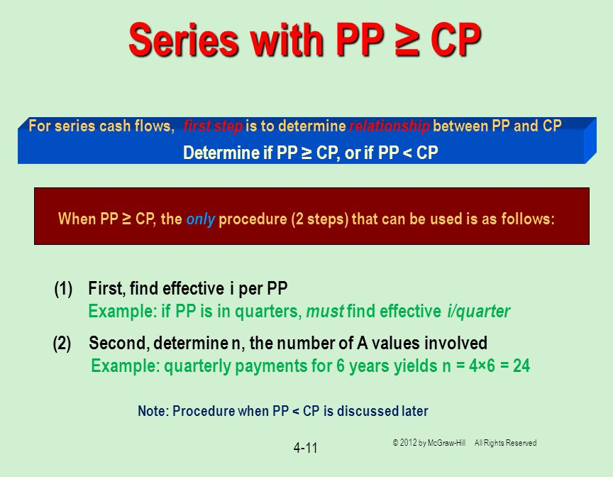 When PP ≥ CP, the only procedure (2 steps) that can be used is as follows: Series with PP ≥ CP 4-11 For series cash flows, first step is to determine relationship between PP and CP (1)First, find effective i per PP Example: if PP is in quarters, must find effective i/quarter (2) Second, determine n, the number of A values involved Example: quarterly payments for 6 years yields n = 4×6 = 24 Determine if PP ≥ CP, or if PP < CP © 2012 by McGraw-Hill All Rights Reserved Note: Procedure when PP < CP is discussed later