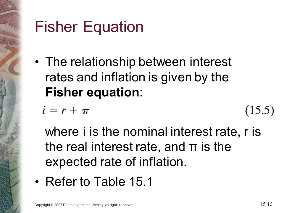 Copyright © 2007 Pearson Addison-Wesley. All rights reserved. 15-10 Fisher Equation The relationship between interest rates and inflation is given by