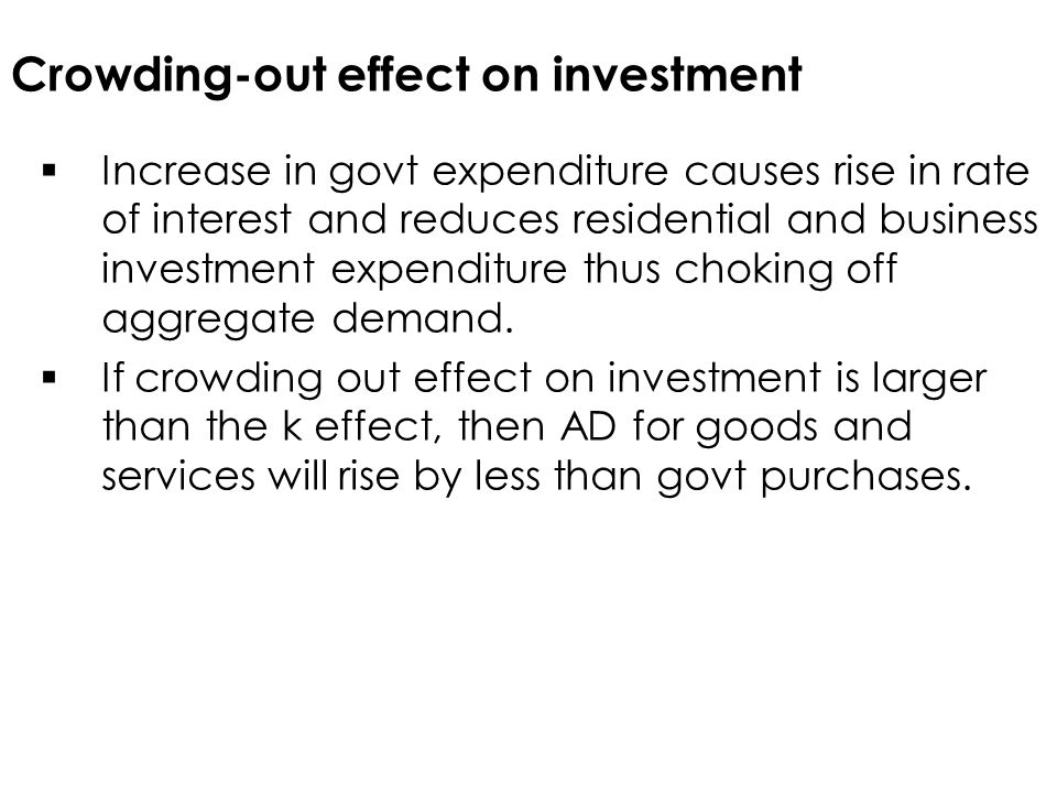 Crowding-out effect on investment  Increase in govt expenditure causes rise in rate of interest and reduces residential and business investment expenditure thus choking off aggregate demand.
