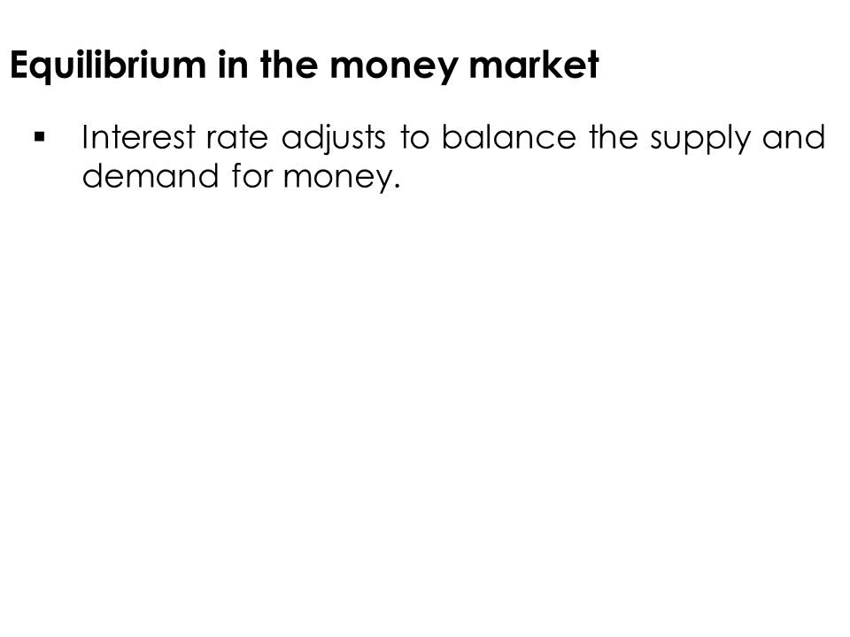 Equilibrium in the money market  Interest rate adjusts to balance the supply and demand for money.