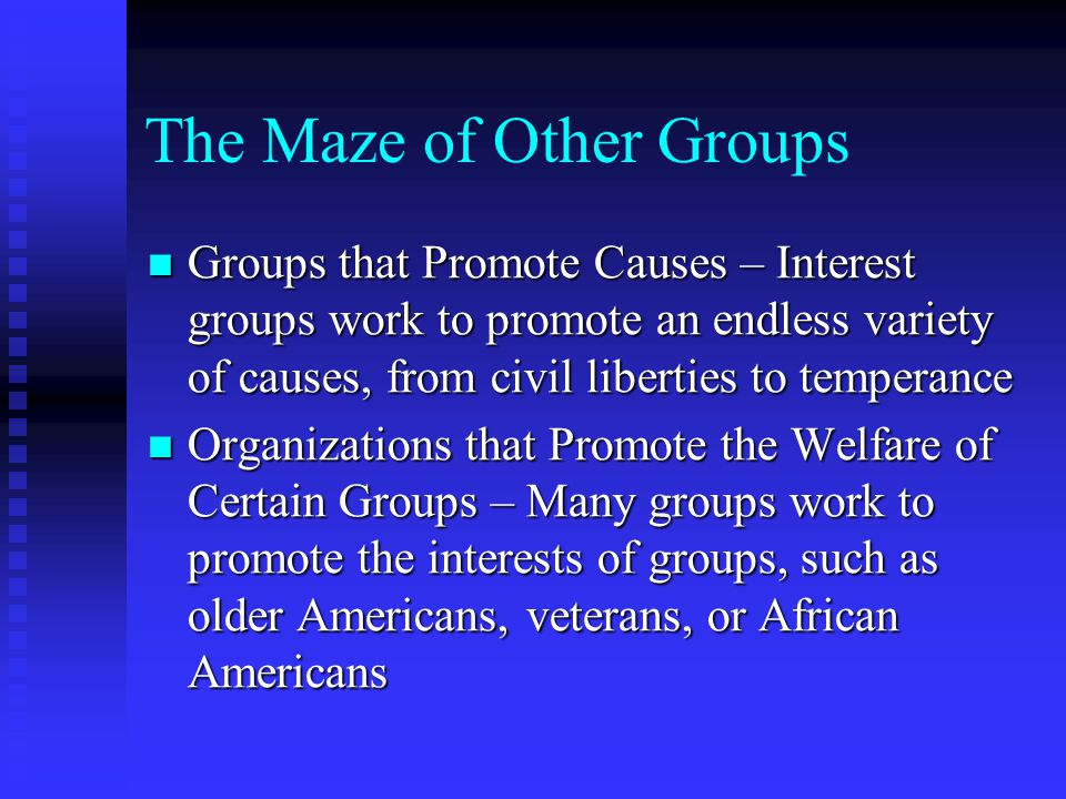 The Maze of Other Groups Groups that Promote Causes – Interest groups work to promote an endless variety of causes, from civil liberties to temperance Groups that Promote Causes – Interest groups work to promote an endless variety of causes, from civil liberties to temperance Organizations that Promote the Welfare of Certain Groups – Many groups work to promote the interests of groups, such as older Americans, veterans, or African Americans Organizations that Promote the Welfare of Certain Groups – Many groups work to promote the interests of groups, such as older Americans, veterans, or African Americans