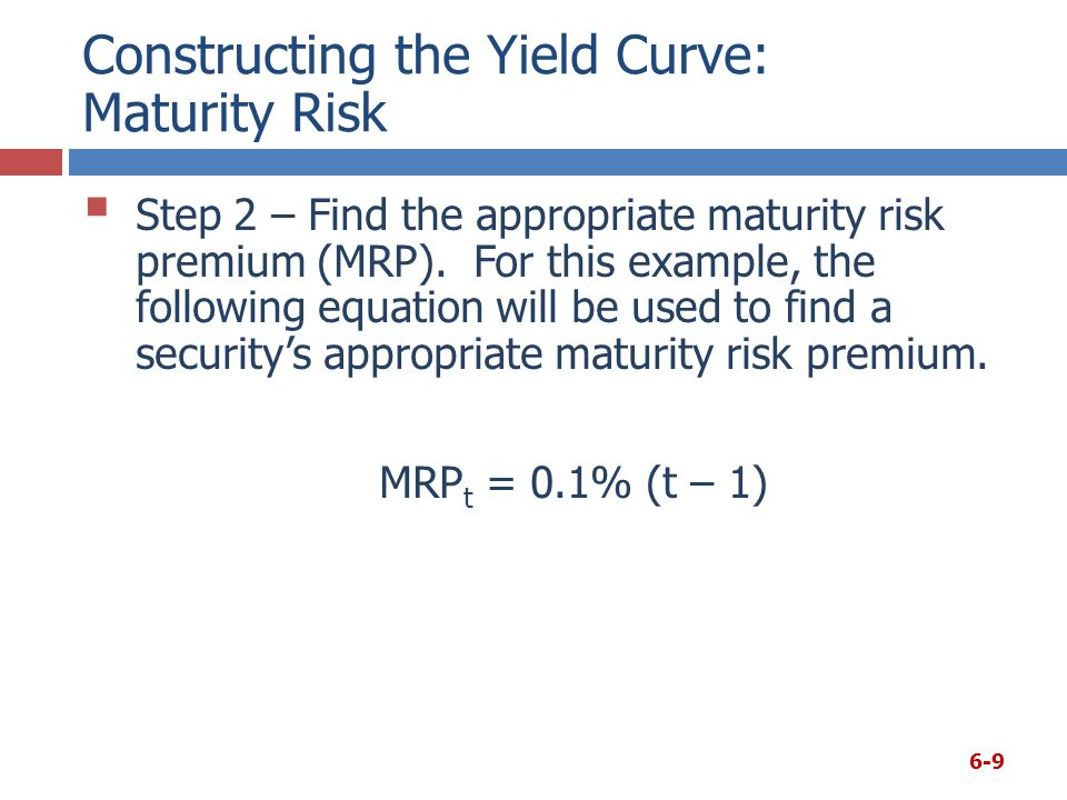Constructing the Yield Curve: Maturity Risk 6-10 Using the given equation: Notice that since the equation is linear, the maturity risk premium is increasing as the time to maturity increases, as it should be.