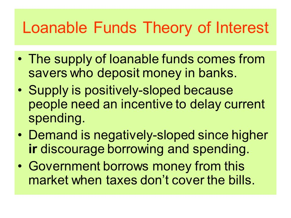Loanable Funds Theory of Interest The supply of loanable funds comes from savers who deposit money in banks.