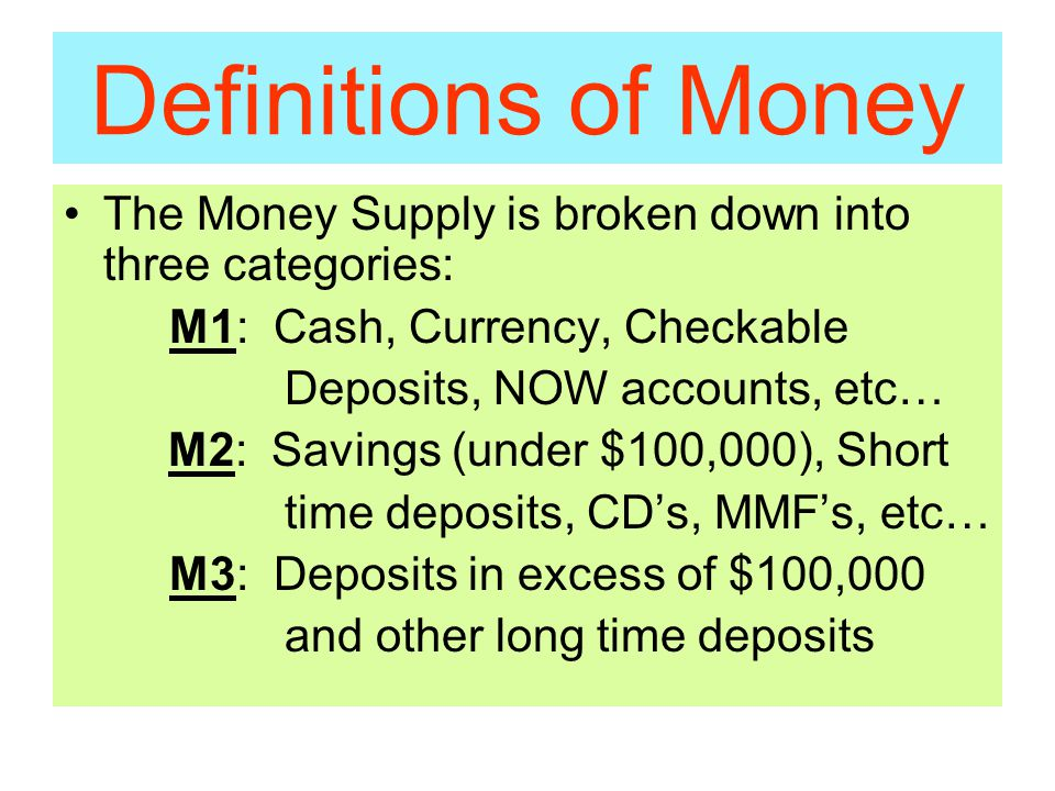 Definitions of Money The Money Supply is broken down into three categories: M1: Cash, Currency, Checkable Deposits, NOW accounts, etc… M2: Savings (under $100,000), Short time deposits, CD's, MMF's, etc… M3: Deposits in excess of $100,000 and other long time deposits