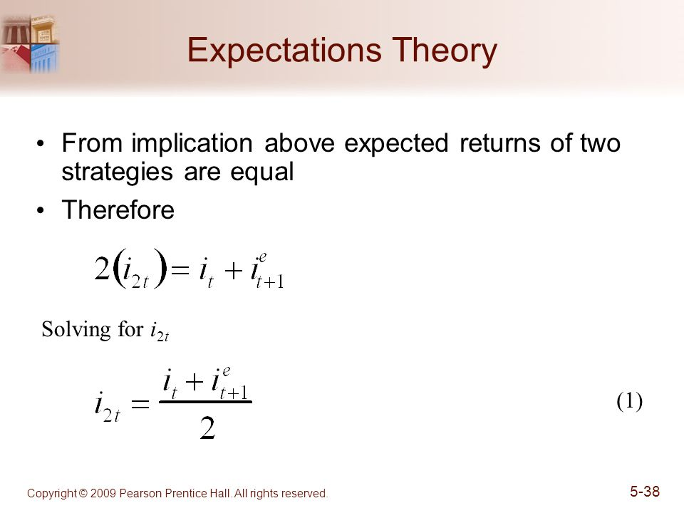 Copyright © 2009 Pearson Prentice Hall. All rights reserved. 5-38 Expectations Theory From implication above expected returns of two strategies are eq