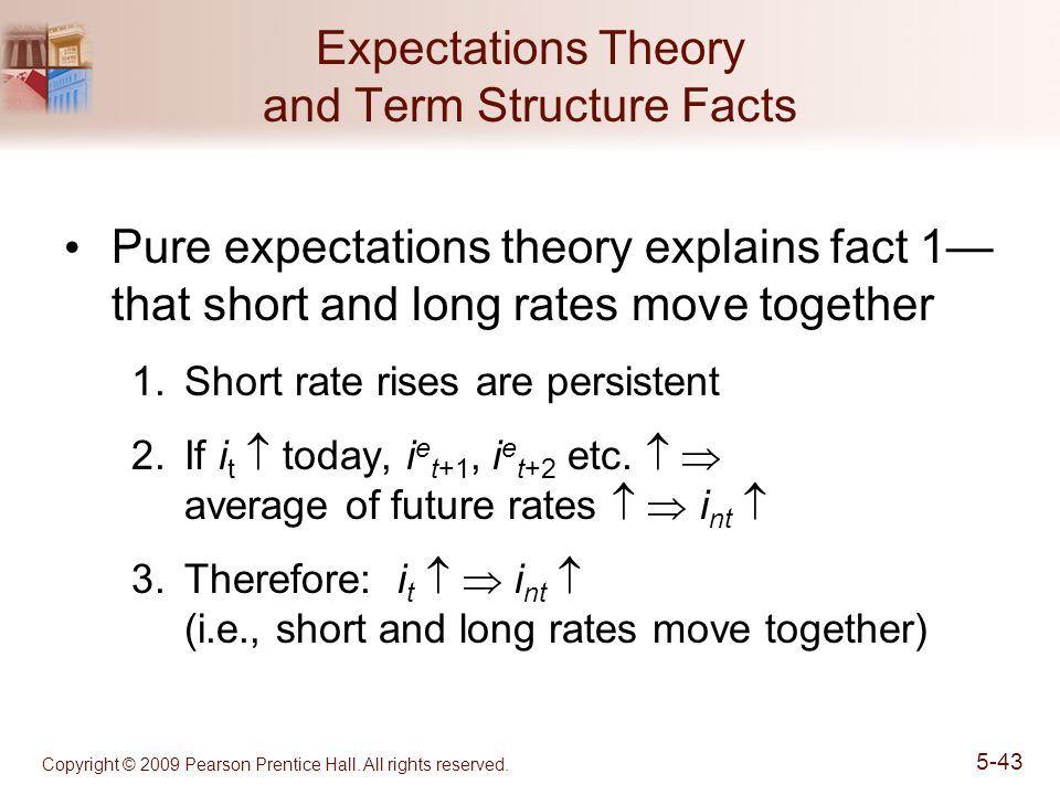 Copyright © 2009 Pearson Prentice Hall. All rights reserved. 5-43 Expectations Theory and Term Structure Facts Pure expectations theory explains fact