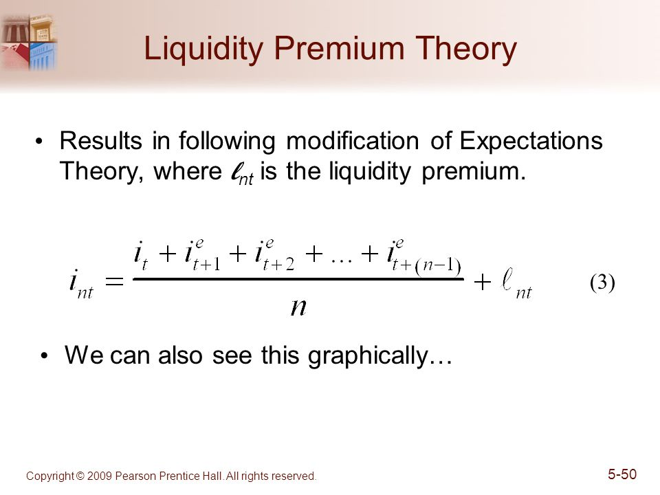 Copyright © 2009 Pearson Prentice Hall. All rights reserved. 5-50 Liquidity Premium Theory Results in following modification of Expectations Theory, w