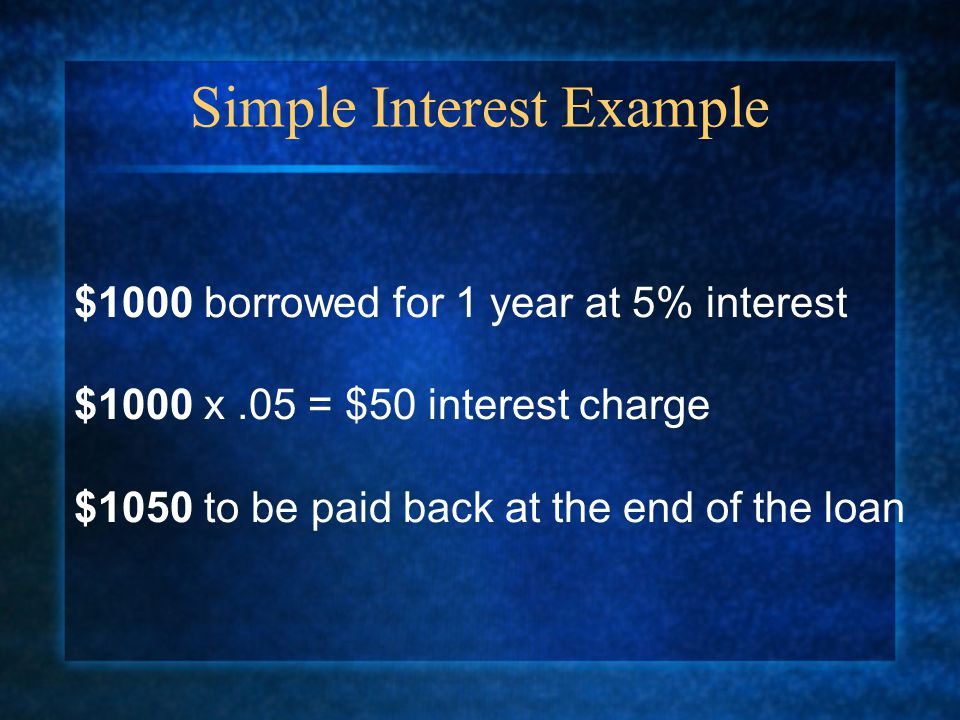 Simple Interest Example $1000 borrowed for 1 year at 5% interest $1000 x.05 = $50 interest charge $1050 to be paid back at the end of the loan