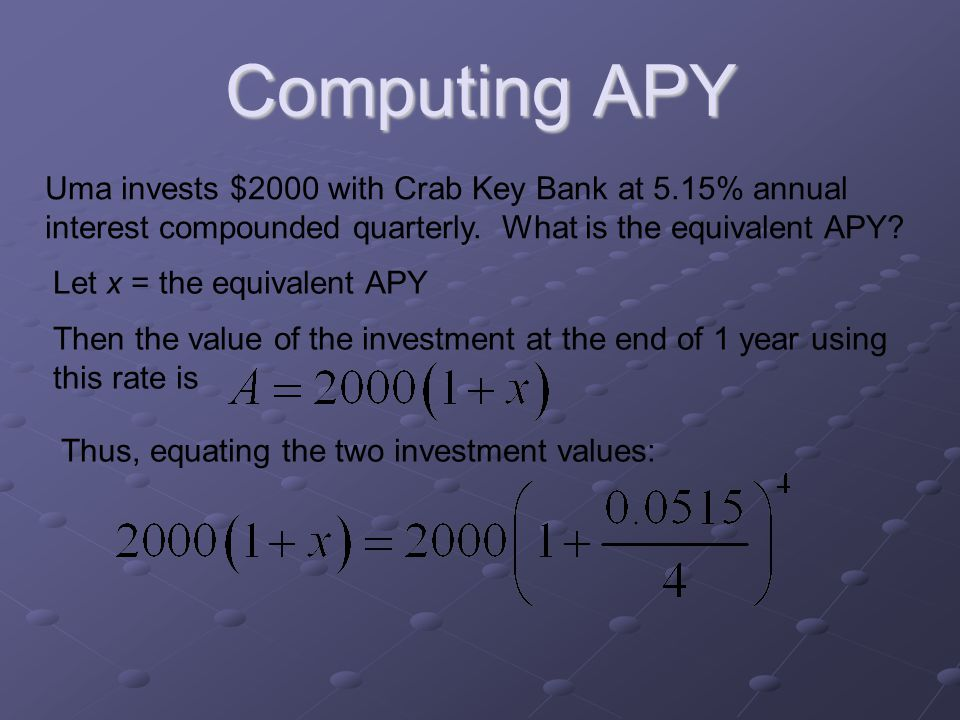 Computing APY Uma invests $2000 with Crab Key Bank at 5.15% annual interest compounded quarterly.