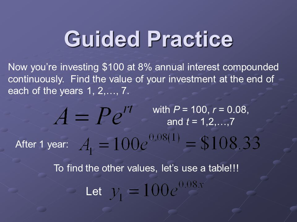 Guided Practice Now you're investing $100 at 8% annual interest compounded continuously.
