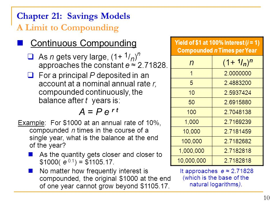 Chapter 21: Savings Models A Limit to Compounding 10 Continuous Compounding  As n gets very large, (1+ 1 / n ) n approaches the constant e ≈ 2.71828.