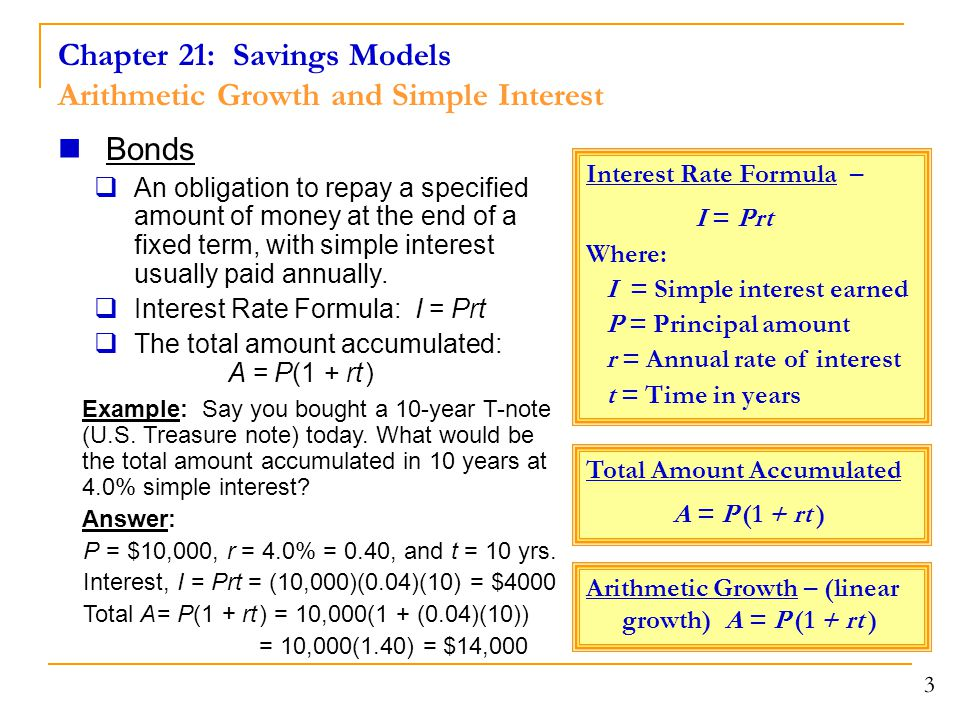 Chapter 21: Savings Models Arithmetic Growth and Simple Interest 3 Bonds  An obligation to repay a specified amount of money at the end of a fixed term, with simple interest usually paid annually.