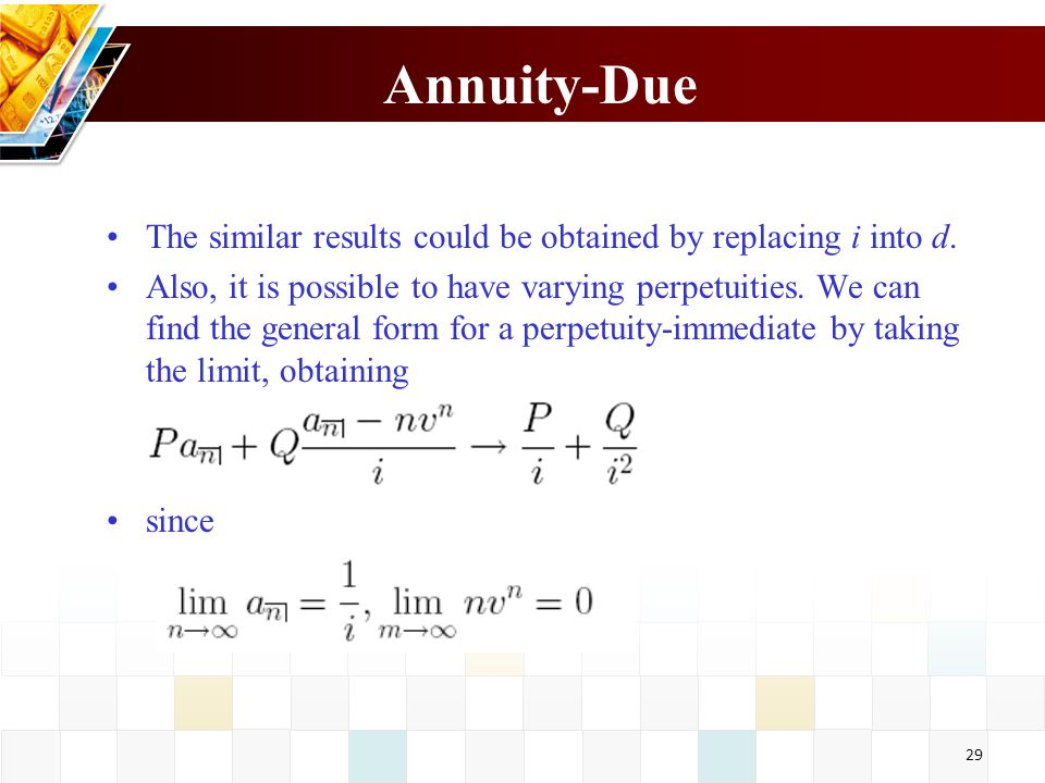 30 Payments varying in geometric progression Consider an annuity-immediate with a term of n periods in which the first payment is 1 and successive payments increase in geometric procession with common ratio 1+ k.
