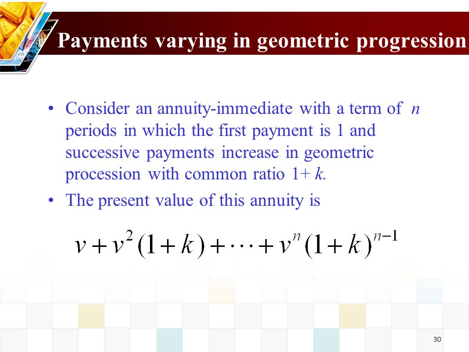 31 This is a geometric progression whose sum is If k=i, then the above formula is undefined.