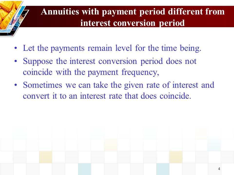 5 Example 4.1 Find the accumulated value in 10 years if monthly payments of 100, starting now, are being made into a fund that credits a nominal rate of interest at 10%, convertible semi-annually.