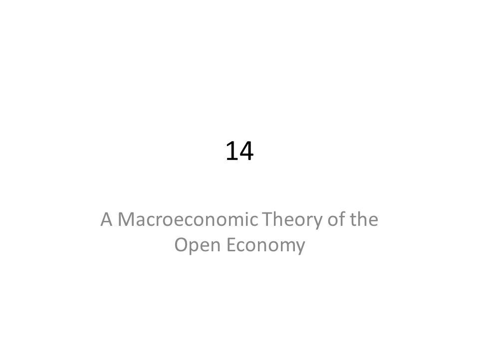 14 A Macroeconomic Theory of the Open Economy
