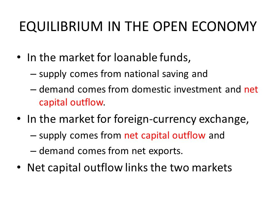EQUILIBRIUM IN THE OPEN ECONOMY In the market for loanable funds, – supply comes from national saving and – demand comes from domestic investment and net capital outflow.