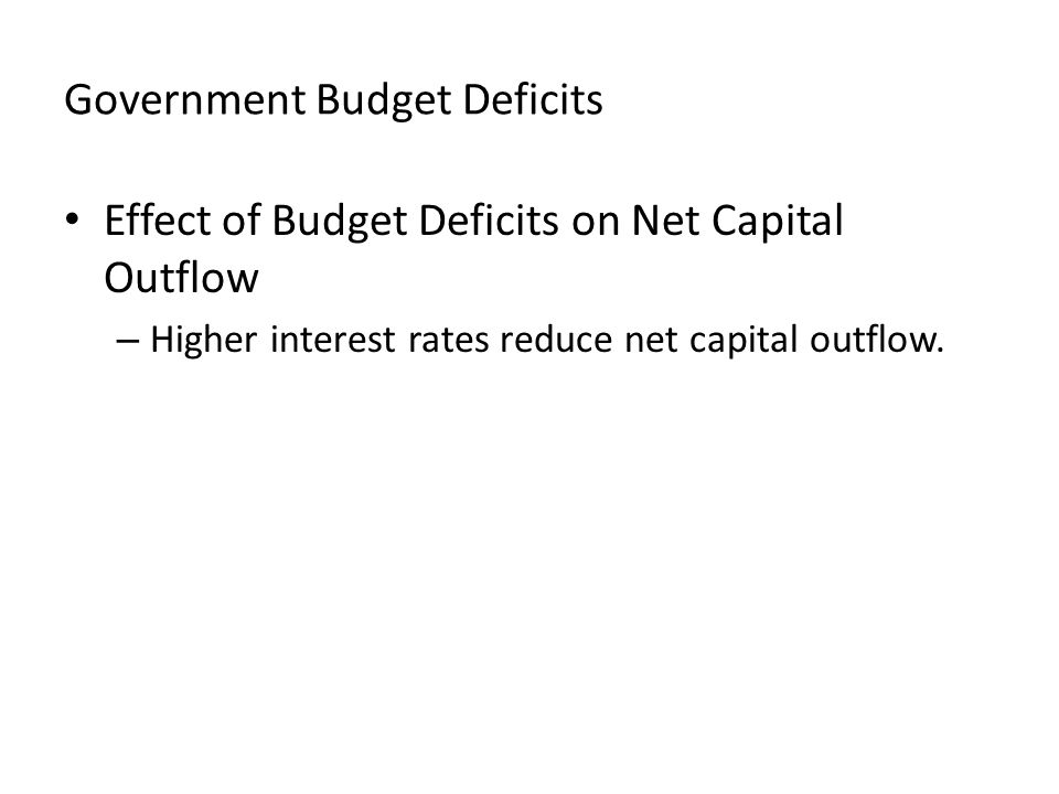 Government Budget Deficits Effect of Budget Deficits on Net Capital Outflow – Higher interest rates reduce net capital outflow.