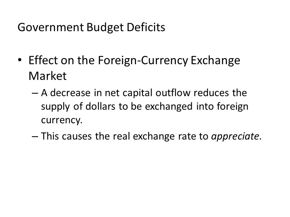 Government Budget Deficits Effect on the Foreign-Currency Exchange Market – A decrease in net capital outflow reduces the supply of dollars to be exchanged into foreign currency.