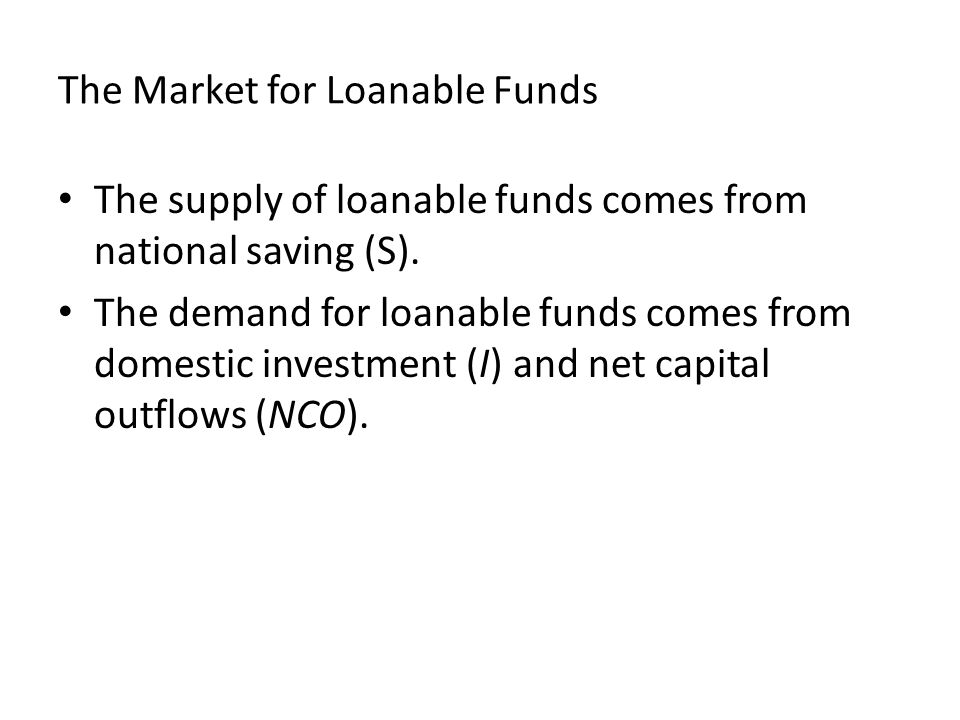 The Market for Loanable Funds The supply of loanable funds comes from national saving (S).