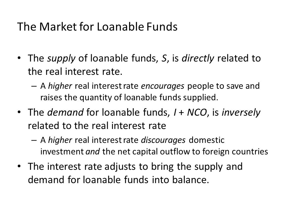 The Market for Loanable Funds The supply of loanable funds, S, is directly related to the real interest rate.