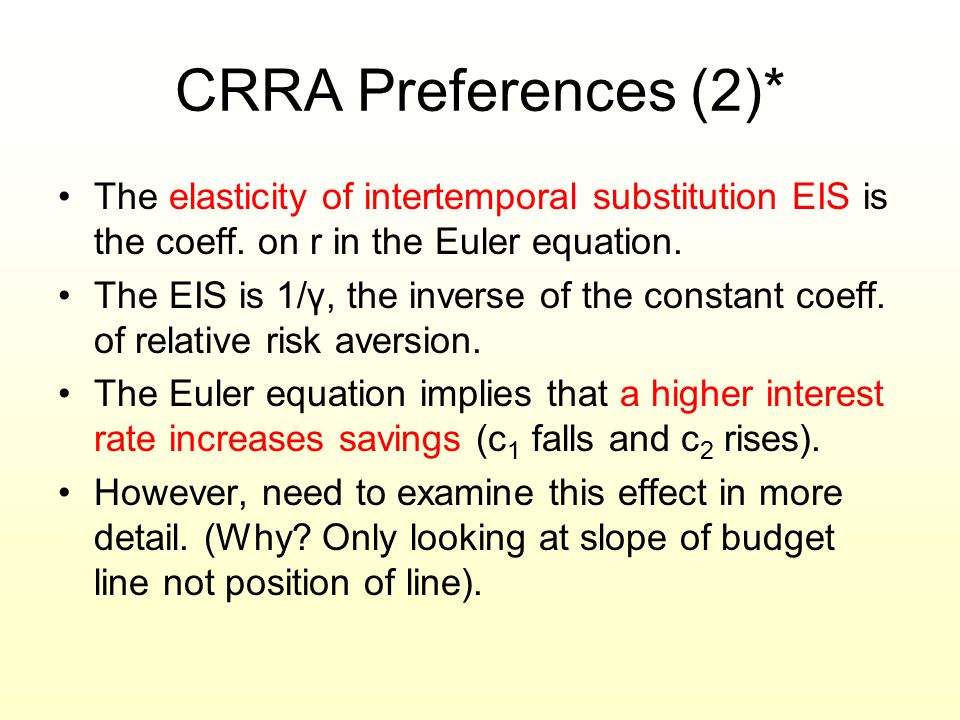 CRRA Preferences (2)* The elasticity of intertemporal substitution EIS is the coeff. on r in the Euler equation. The EIS is 1/γ, the inverse of the co